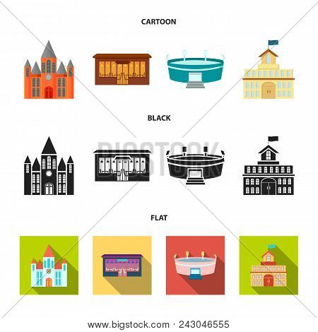 House Of Government, Stadium, Cafe, Church.building Set Collection Icons In Cartoon, Black, Flat Sty