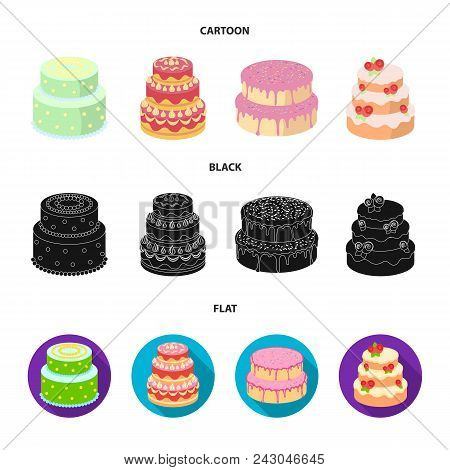 Sweetness, Dessert, Cream, Treacle .cakes Country Set Collection Icons In Cartoon, Black, Flat Style