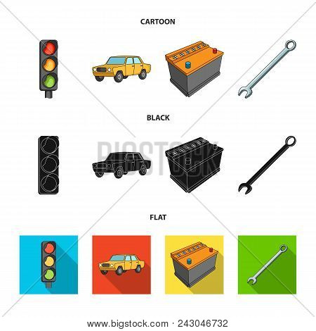 Traffic Light, Old Car, Battery, Wrench, Car Set Collection Icons In Cartoon, Black, Flat Style Vect