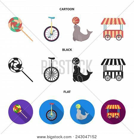 Lollipop, Trained Seal, Snack On Wheels, Monocycle.circus Set Collection Icons In Cartoon, Black, Fl