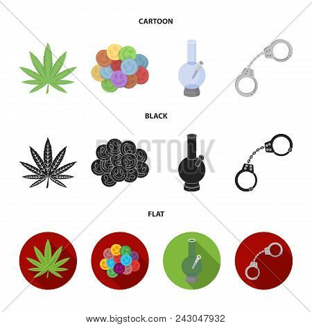 Hemp Leaf, Ecstasy Pill, Handcuffs, Bong.drug Set Collection Icons In Cartoon, Black, Flat Style Vec