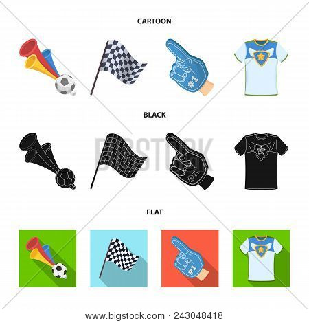 Pipe, Uniform And Other Attributes Of The Fans.fans Set Collection Icons In Cartoon, Black, Flat Sty