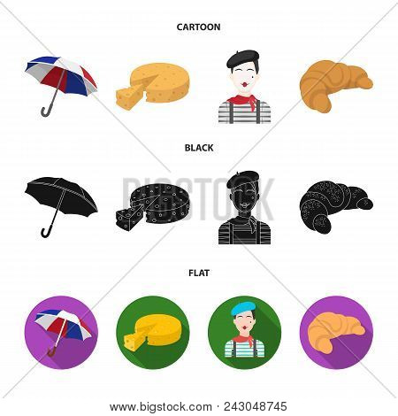 Umbrella, Traditional, Cheese, Mime .france Country Set Collection Icons In Cartoon, Black, Flat Sty