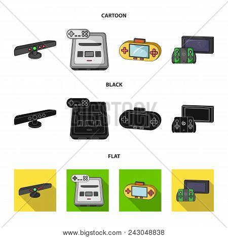 Game And Tv Set-top Box Cartoon, Black, Flat Icons In Set Collection For Design.game Gadgets Vector