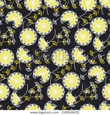 Black And White Dandelion Flowers Seamless Pattern. Decorative Abstract Modern Color Floral Repeatab