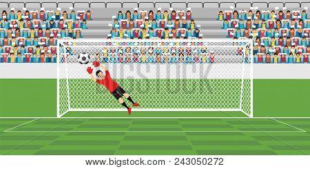 Goalkeeper Jumping To Catch Soccer Ball, Football Match Team Players Sport Championship Vector Illus