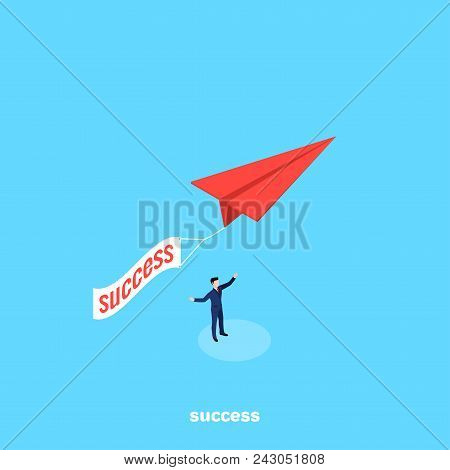 Red Paper Airplane With Transponder As A Symbol Of Success, Isometric Image