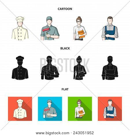 Cook, Painter, Teacher, Locksmith Mechanic.profession Set Collection Icons In Cartoon, Black, Flat S