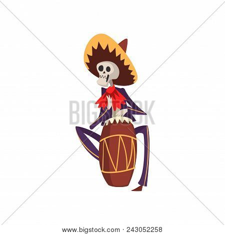 Skeleton In Mexican National Costume Playing Playing The Ethnic Drum, Dia De Muertos, Day Of The Dea