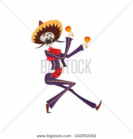 Skeleton in Mexican national costume playing maracas, Dia de Muertos, Day of the Dead vector Illustration isolated on a white background. poster