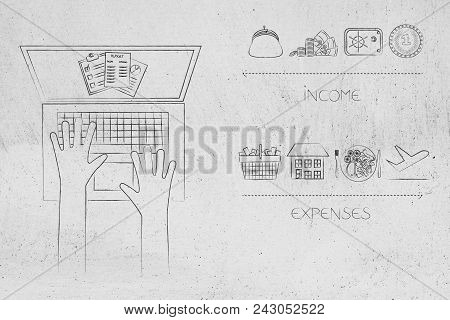 Managing Your Budget Conceptual Illustration: Laptop With Budgeting Documents On The Screen Next To