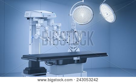 3d Rendering Surgery Room With Robotic Surgery Machine