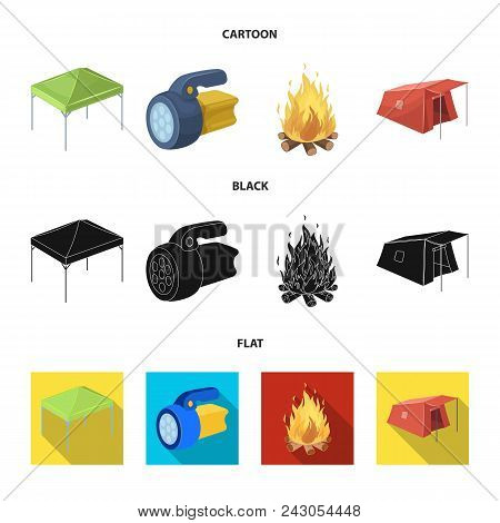 Awning, Fire And Other Tourist Equipment.tent Set Collection Icons In Cartoon, Black, Flat Style Vec