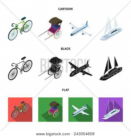 Bicycle, Rickshaw, Plane, Yacht.transport Set Collection Icons In Cartoon, Black, Flat Style Vector