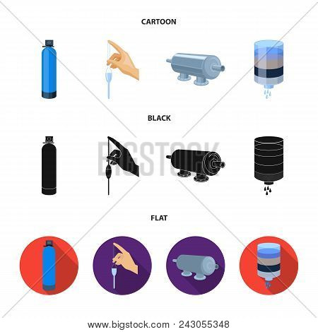 Purification, water, filter, filtration .Water filtration system set collection icons in cartoon, black, flat style vector symbol stock illustration . poster