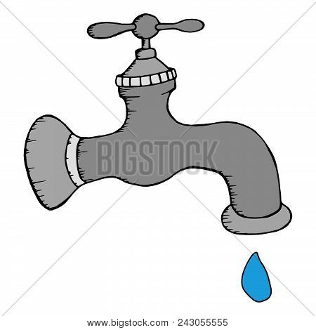 Gray Water Tap With A Drop Of Water. Vector Illustration Water Tap With A Drop. Hand Drawn Water Tap