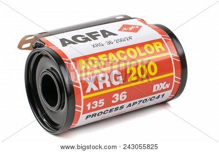 Niedersachsen, Germany May 30, 2018 :  A Roll Of Agfa Xrg 200 35mm Analogue Camera Film On A White B