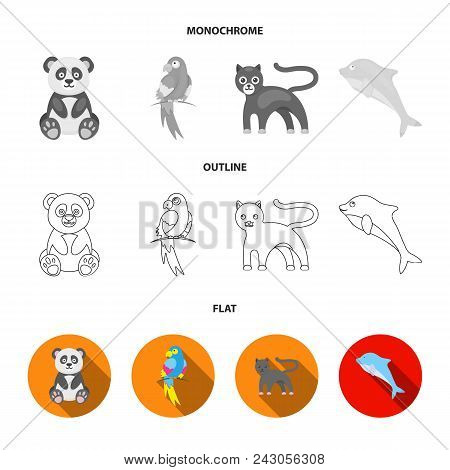 Panda.popugay, Panther, Dolphin.animal Set Collection Icons In Flat, Outline, Monochrome Style Vecto