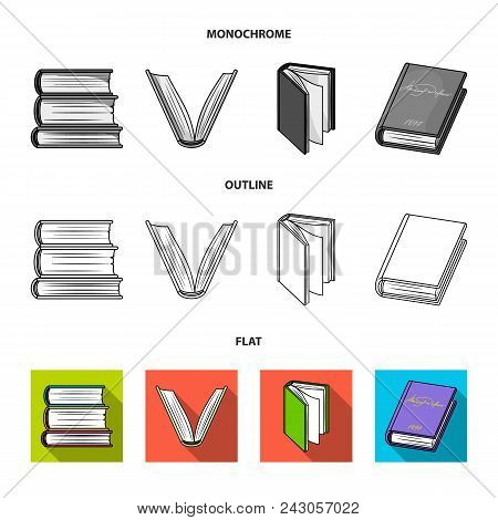 Various Kinds Of Books. Books Set Collection Icons In Flat, Outline, Monochrome Style Vector Symbol