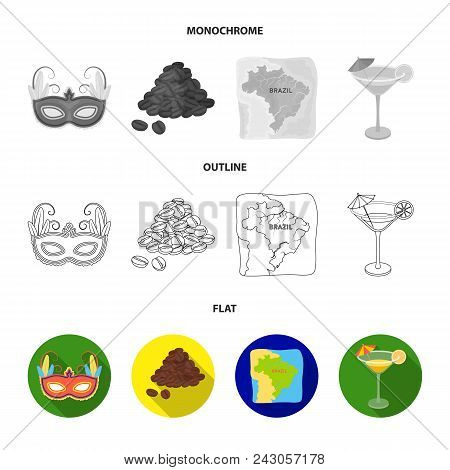 Brazil, Country, Mask, Carnival . Brazil Country Set Collection Icons In Flat, Outline, Monochrome S