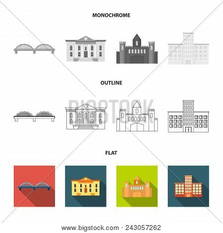 Museum, Bridge, Castle, Hospital.building Set Collection Icons In Flat, Outline, Monochrome Style Ve