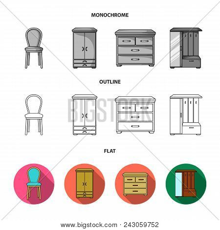 Armchair, Cabinet, Bedside, Table .furniture And Home Interiorset Collection Icons In Flat, Outline,