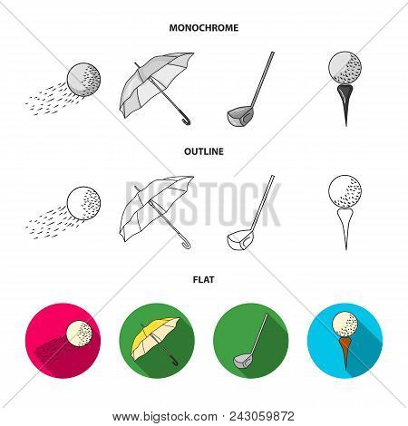A Flying Ball, A Yellow Umbrella, A Golf Club, A Ball On A Stand. Golf Club Set Collection Icons In