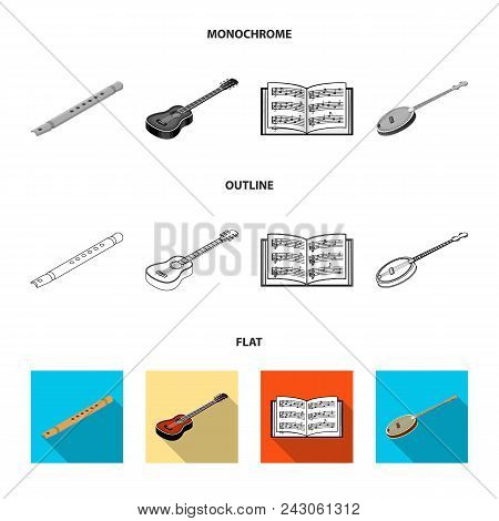 Musical Instrument Flat, Outline, Monochrome Icons In Set Collection For Design. String And Wind Ins