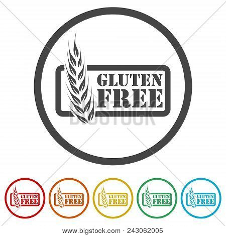 Gluten Free Icon, No Gluten / Gluten Free Food Label, 6 Colors Included