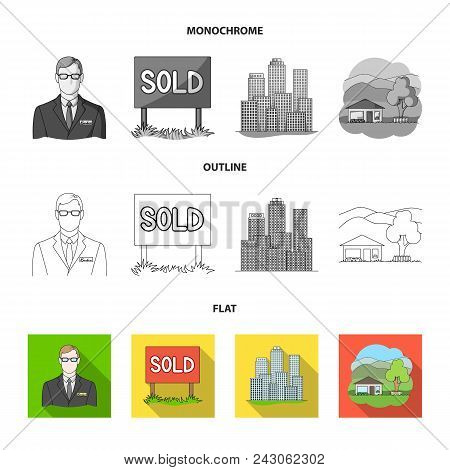 Employee Of The Agency, Sold, Metropolis, Country House. Realtor Set Collection Icons In Flat, Outli