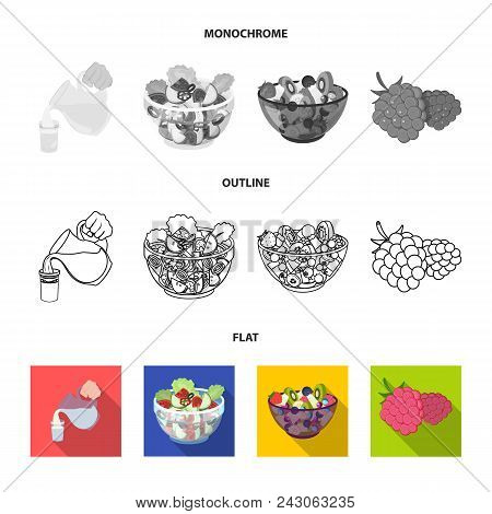 Fruit, Vegetable Salad And Other Types Of Food. Food Set Collection Icons In Flat, Outline, Monochro