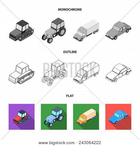 Tractor, Caterpillar Tractor, Truck, Car. Transport Set Collection Icons In Flat, Outline, Monochrom