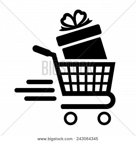 Shopping Cart And Gift Box. High-speed Movement Of The Cart. Vector Illustration.