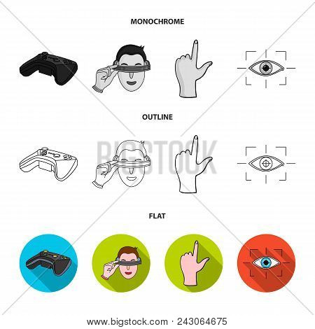 Virtual, Reality, Helmet, Computer, Technology, .virtual Reality Set Collection Icons In Flat, Outli