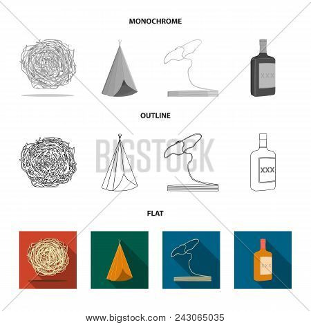Roll-field, Indian Wigwam, Lasso, Whiskey Bottle. Wild West Set Collection Icons In Flat, Outline, M