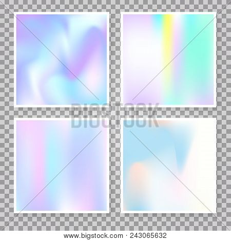 Gradient Set With Holographic Mesh. Futuristic Abstract Gradient Set Backdrops. 90s, 80s Retro Style