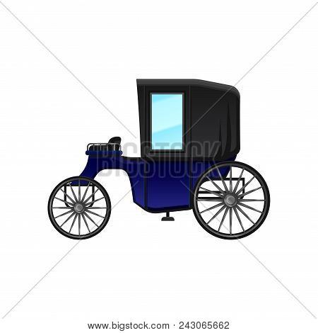 Vintage Carriage With Blue Cab And Big Wheels. Antique Wagon For Passengers. Icon Of Antique Vehicle