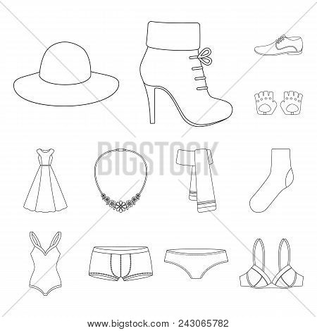 Clothes And Accessories Outline Icons In Set Collection For Design. Shoes And Decoration Vector Symb