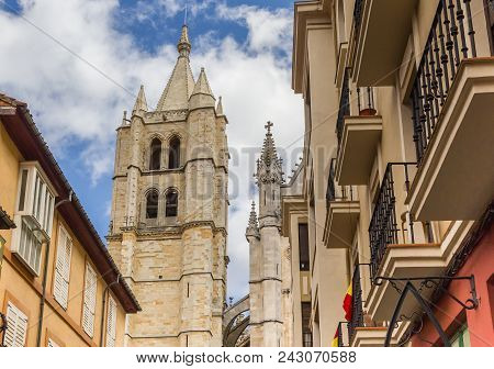 Tower Of The Cathedral Of Leon, Spain