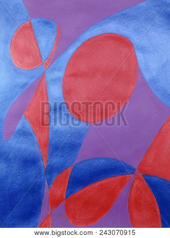 The Word Laugh Drawn On Paper And The Spaces Painted With Red, Blue And Purple Acrylic Paint. Origin