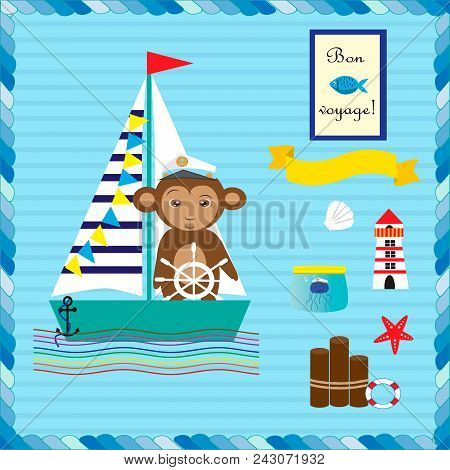 Monkey On The Ship. Collection With Elements For Design In Marine Theme. Eps 10.