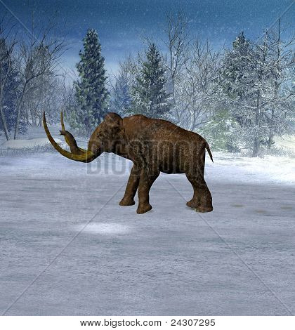 Mammoth In Landscape In The Ice Age.