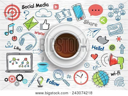 Modern Flat Thin Line And Realistic Design Vector Illustration, Concept Of Social Media, Social Netw