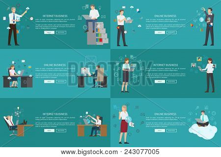 Internet Online Business Set Of Cards, Vector Illustrations With Business Ladies And Men Working Wit