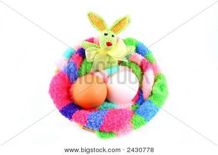 Easter Bunny And Two Eggs In A Clutch