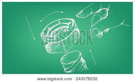 Manufacturing And Industry, Illustration Hand Drawn Sketch Of Nylon Insert Lock Nut Or Nyloc Nut And