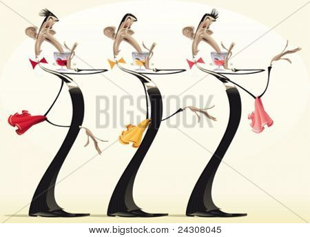 Funny waiters with different wines. Cartoon and vector illustration.