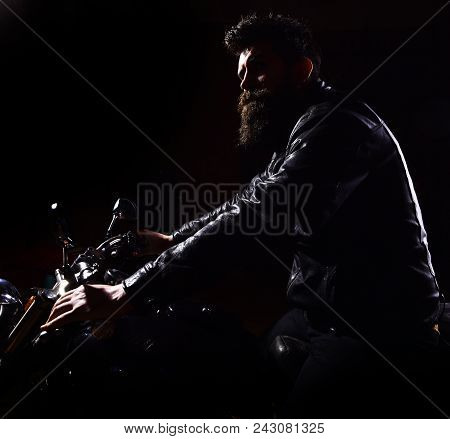 Hipster, Brutal Biker In Leather Jacket Riding Motorcycle At Night Time, Copy Space. Night Rider Con
