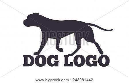 Dog logo design with two canine animals black silhouettes isolated on white background. Canine domestic dogs pedigree purebred vector illustrations poster