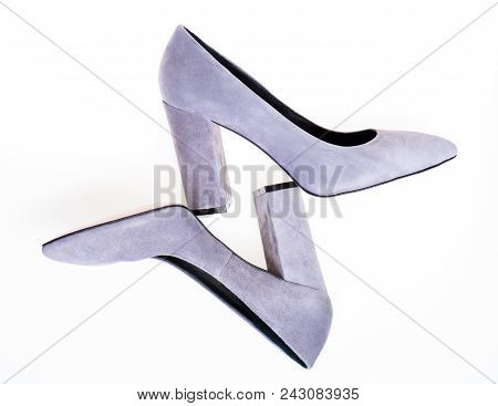 Shoes Made Out Of Grey Suede On White Background, Isolated. Female Footwear Concept. Pair Of Fashion